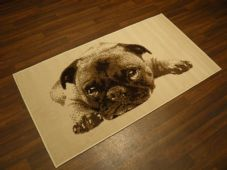 NEW Aprox 5x3 80x150cm Woven Backed Top Quality Pug Dogs  Beige/Cream Rugs/Mats
